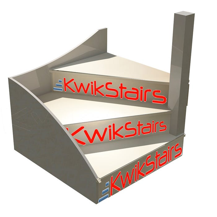 Kwikstairs Right Hand Winder Staircase Kit Up To 900mm Wide