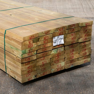47mm x 200mm Structural Graded C24 Treated Carcassing Timber 3600mm (8'' x 2'') Pack of 55
