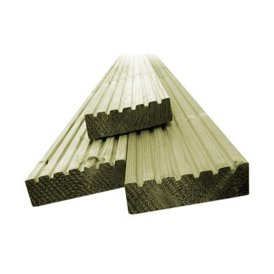 32mm x 125mm Softwood Reversible Decking Board 4800mm TM Profile
