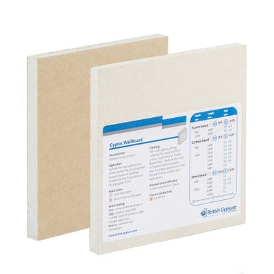 9.5mm British Gypsum Gyproc WallBoard Plasterboard Square Edge 2400mm x 1200mm (8' x 4')