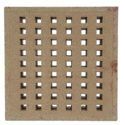 215mm x 140mm x 50mm Redbank Clay Square Hole Air Brick Buff
