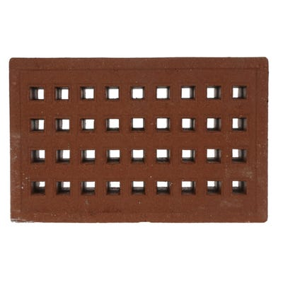 215mm x 140mm x 50mm Redbank Clay Square Hole Air Brick Red