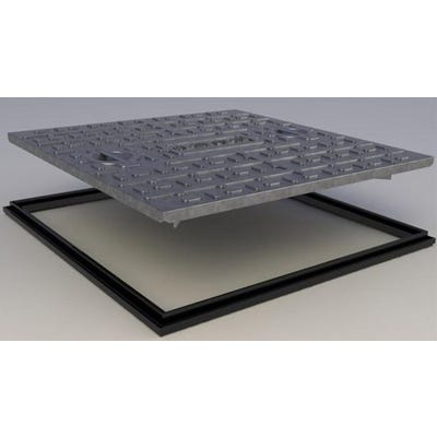 600mm x 450mm Clark-Drain 10T GPW Galvanised Steel Solid Top Manhole Cover & Frame