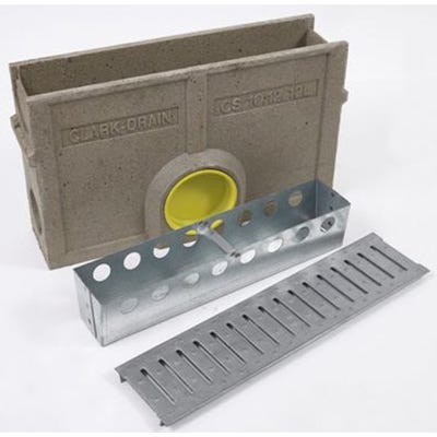 500mm Clark-Drain A15 Domestic Polymer Concrete Silt Box & Slotted Galvanised Steel Grate