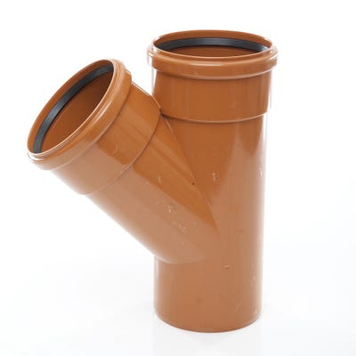 110mm Polypipe 45° Equal Junction Double Socket UG406