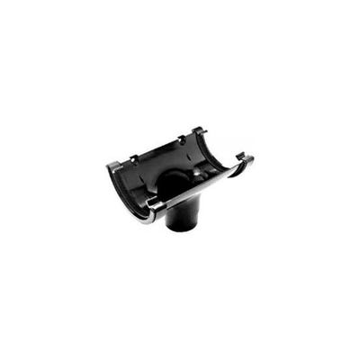 150mm Polypipe Gutter Half Round Running Outlet Black RL605B