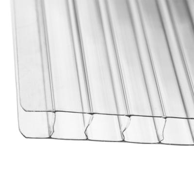 10mm Clear Twinwall Polycarbonate Roof Sheet 700mm x 2500mm (8' x 2.3')
