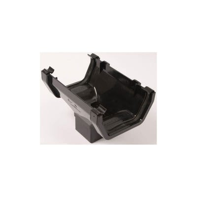 112mm Polypipe Square Gutter Running Outlet Black RS205B