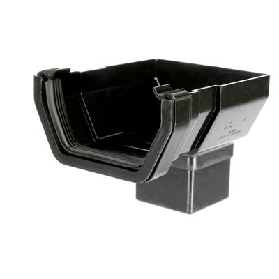 112mm Polypipe Square Gutter Stop End Outlet Black RS206B