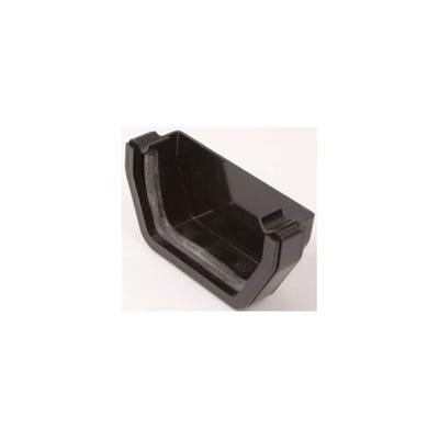 112mm Polypipe Square Gutter External Stop End Black RS207B