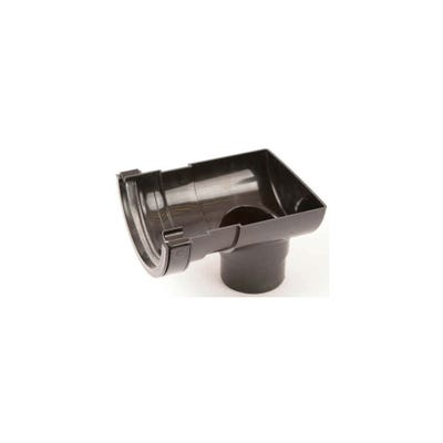 112mm Polypipe Half Round Gutter Stop End Outlet Black RR106B