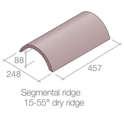 Marley Segmental Half Round Ridge Tile Concrete Old English Dark Red 457mm x 248mm