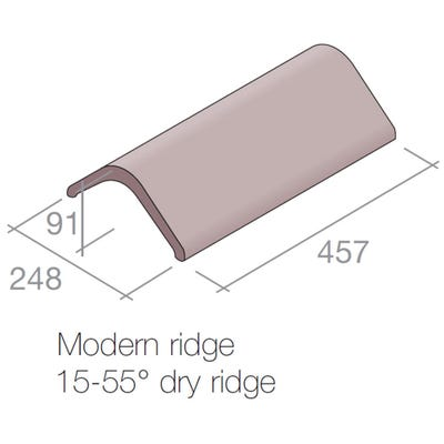 Marley Modern Angled Ridge Tile Concrete Old English Dark Red 457mm x 248mm