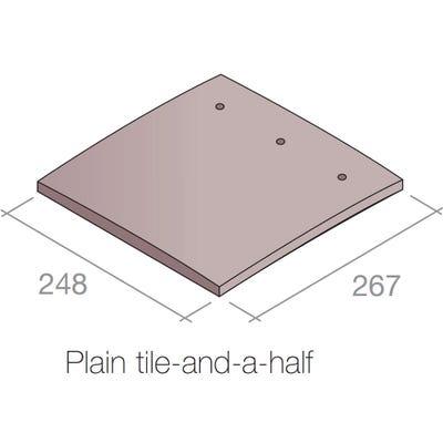 Marley Plain Gable Tile (Tile & A Half) Concrete Dark Red 248mm x 267mm