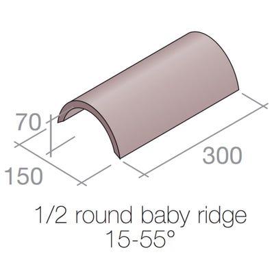 Marley Half Round Baby Ridge Tile Concrete Old English Dark Red 300mm x 150mm