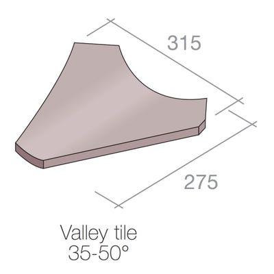 Marley Valley Tile Concrete Dark Red 35-50° 315mm x 275mm