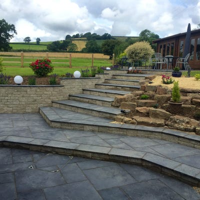 EM 22mm Black Riven Natural Limestone Paving Patio Pack (15.3m²)