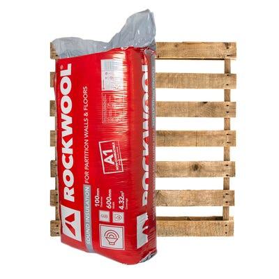 100mm Rockwool Sound Insulation Slab 1200mm x 600mm Pallet of 15 (64.8m²)