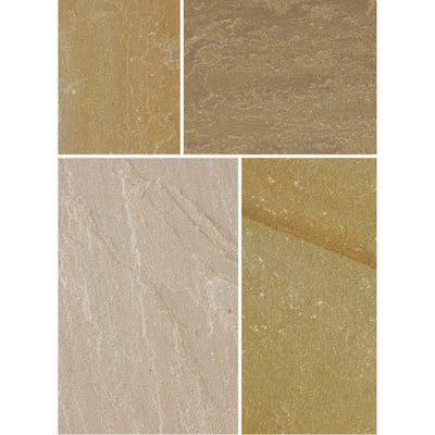 Bradstone 300mm x 300mm x 20mm Natural Sandstone Riven Autumn Green Pack of 85 (8.15m²)