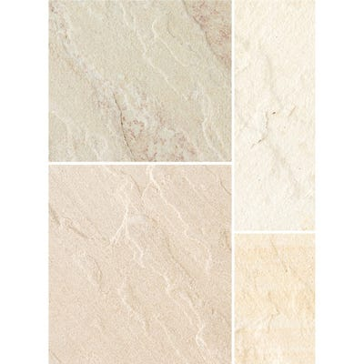 Bradstone 600mm x 300mm x 20mm Natural Sandstone Riven Fossil Buff Pack of 85 (16.1m²)