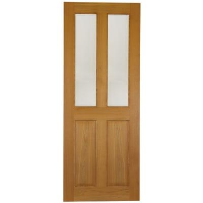 Deanta Internal Oak Bury 2L Prefinished Clear Glazed Door