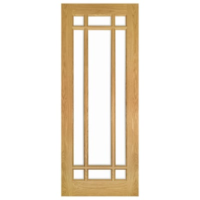 Deanta Internal Oak Kerry 9L Clear Glazed Door