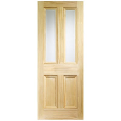 XL Joinery Internal Clear Pine Edwardian Vertical Grain 2L Clear Glazed Door
