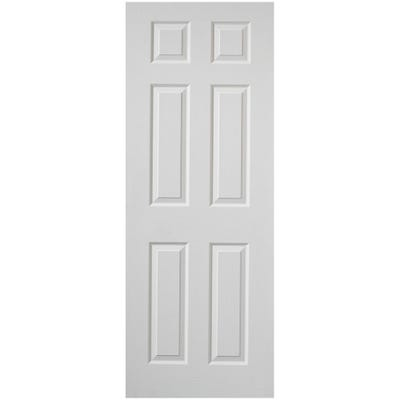 Premdor Internal White Primed Moulded Woodgrain 6 Panel FD30 Fire Door