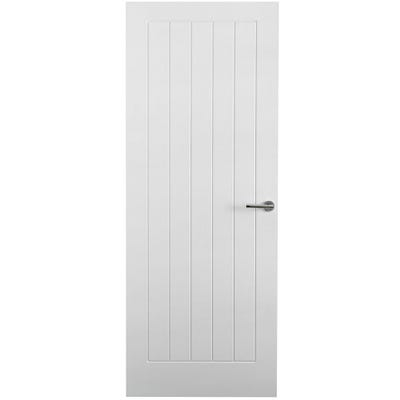 Premdor Internal White Primed Moulded Woodgrain Vertical 5 Panel FD30 Fire Door