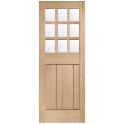 XL Joinery External Oak Stable M&T 9L Clear Glazed Door