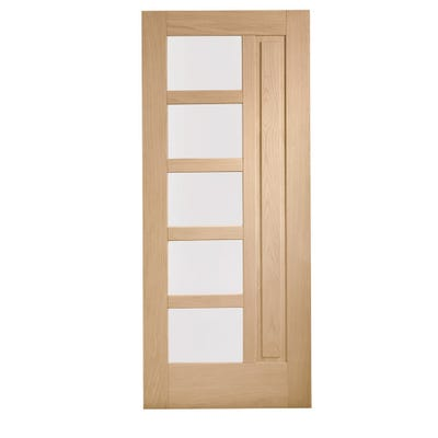 XL Joinery External Oak Lucca M&T 5L Obscure Glazed Door 1981 x 838 x 44mm
