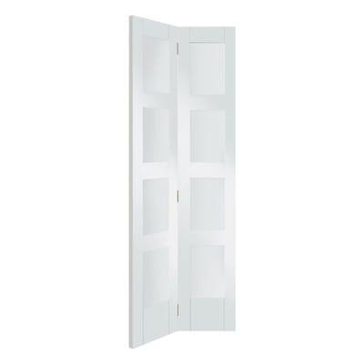 XL Joinery Internal White Primed Shaker 4L Clear Glazed Bi-Fold Door 1981 x 762 x 35mm
