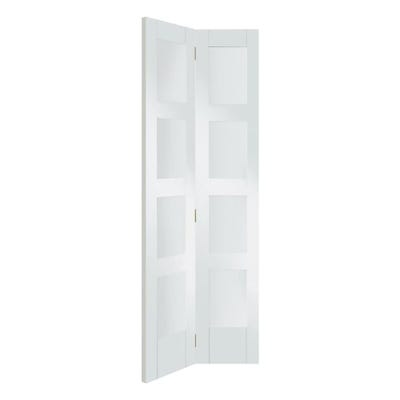 XL Joinery Internal White Primed Shaker 4L Clear Glazed Bi-Fold Door