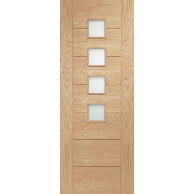 XL Joinery Internal Oak Palermo 4L Obscure Glazed FD30 Fire Door