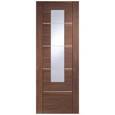 XL Joinery Internal Walnut Portici Prefinished 1L Clear Glazed Door