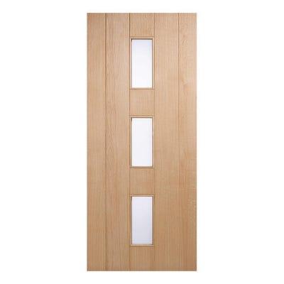 LPD External Oak Copenhagen 3L Frosted Glazed Door