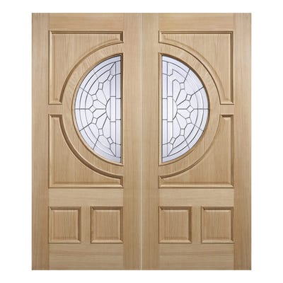 LPD External Oak Empress Zinc Patterned 1L Double Glazed Door Pair