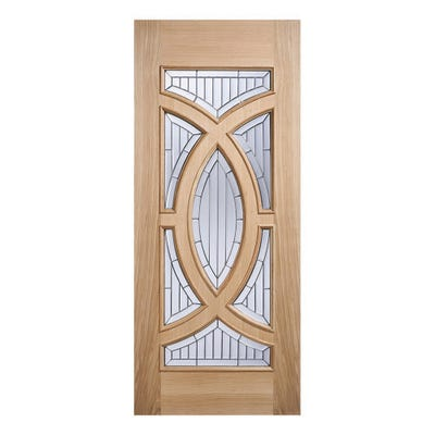 LPD External Oak Majestic Zinc Patterned 7L Double Glazed Door
