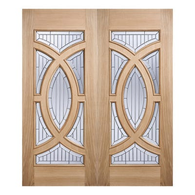 LPD External Oak Majestic Zinc Patterned 7L Double Glazed Door Pair