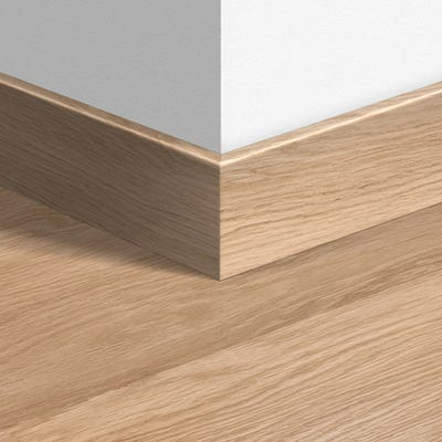 Quick Step White Varnished Oak Parquet Skirting 14 x 77 x 2400mm Design QS0915