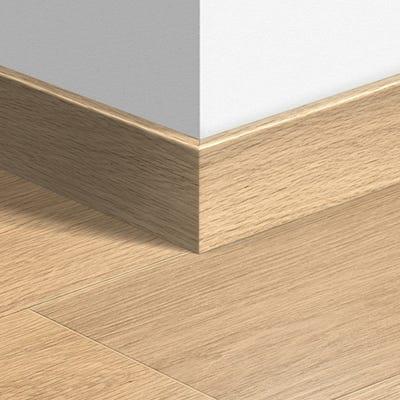 Quick Step White Varnished Oak Parquet Skirting 14 x 77 x 2400mm Design QS1283
