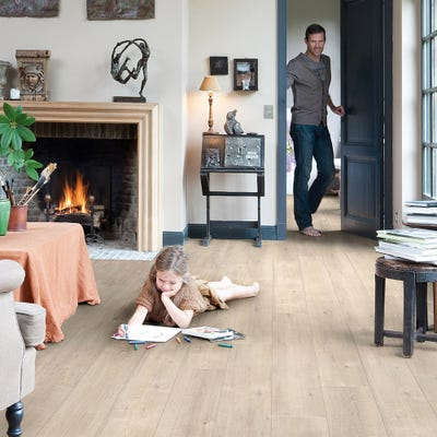 Quick Step Impressive IM1857 Saw Cut Oak Beige Laminate Flooring