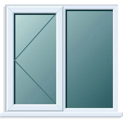 uPVC Window Side+Side Hung LH Open Clear Glass 1200 x 1050mm