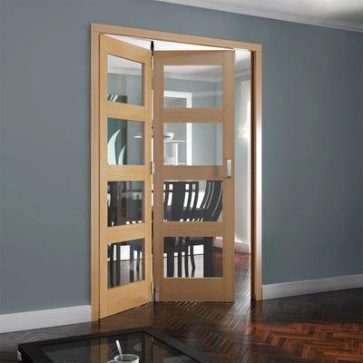 Jeld-Wen Internal Oak Shaker 4L Clear Glazed 2 Door Roomfold