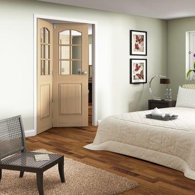 Jeld-Wen Internal Oak Huntingdon 6L Clear Glazed 2 Door Roomfold 2047 x 1471 x 92mm