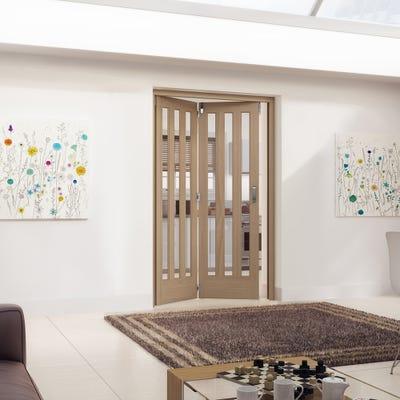 Jeld-Wen Internal Oak Aston 3L Obscure Glazed 2 Door Roomfold 2047 x 1471 x 92mm