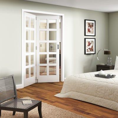 Jeld-Wen Internal White Primed Shaker 10L Clear Glazed 2 Door Roomfold