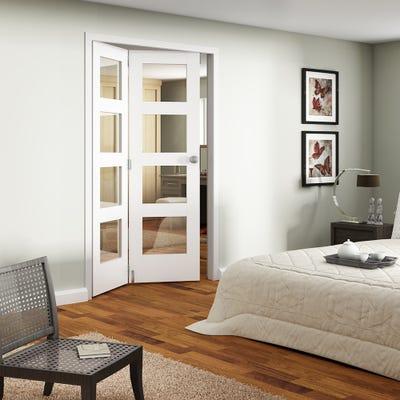 Jeld-Wen Internal White Primed Shaker 4L Clear Glazed 2 Door Roomfold