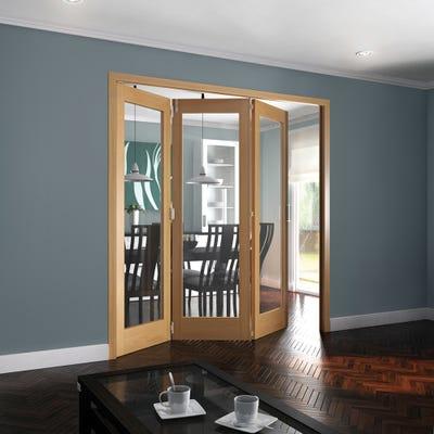 Jeld-Wen Internal Oak Shaker 1L Clear Glazed 3 Door Roomfold