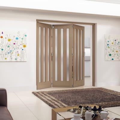 Jeld-Wen Internal Oak Aston 3L Obscure Glazed 3 Door Roomfold 2047 x 2157 x 92mm